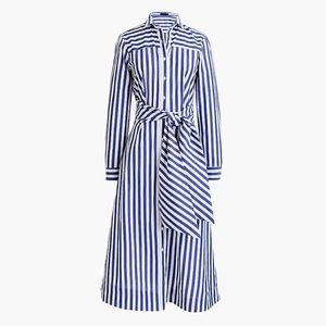 New JCREW Tie-waist shirtdress in stripe